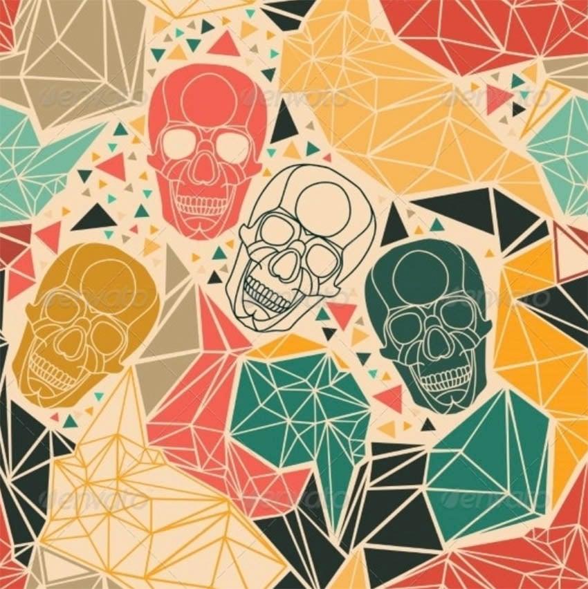 Skull with Geometric Polygonal Ornament
