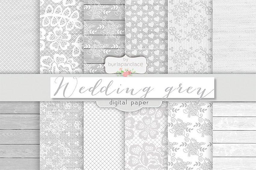 Grey Wedding Digital Paper Pack for Digital Scrapbooking