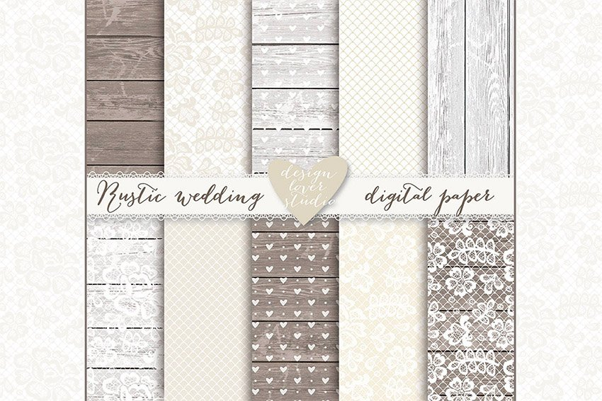Lace Wedding Invite Champagne Digital Papers