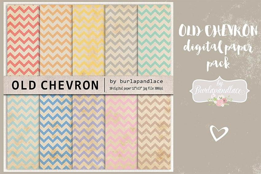 Old Chevron Digital Paper Pack for Digital Scrapbooking
