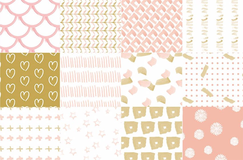 Rose Gold Watercolor Seamless Vector Patterns