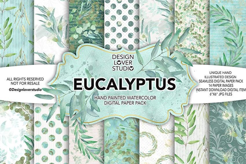 Watercolor Eucalyptus Digital Scrapbook Paper Pack