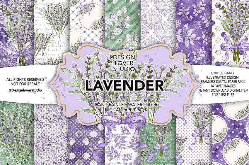 Watercolor LAVENDER Digital Scrapbook Paper Pack
