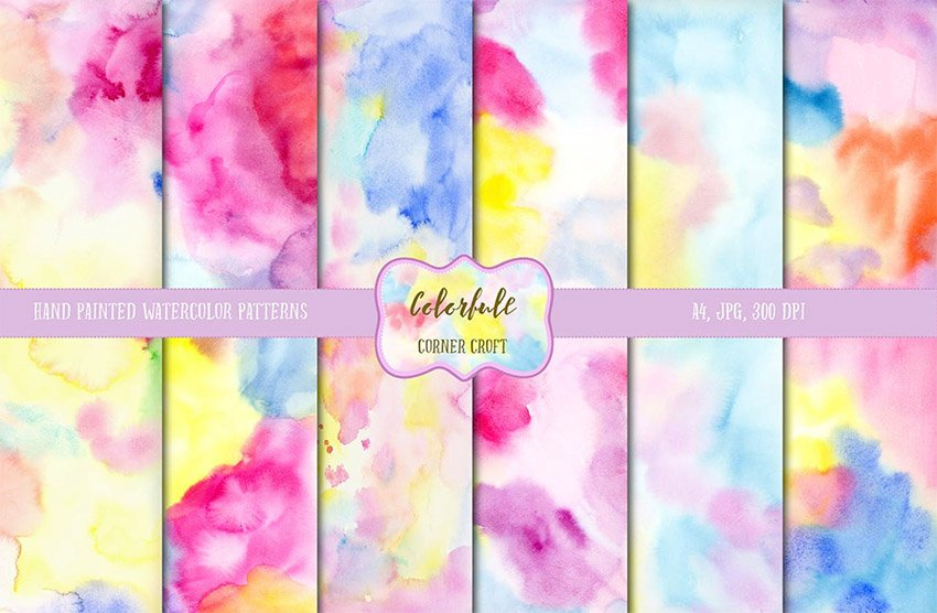 Watercolor Colorful Texture Pattern for Digital Scrapbooking