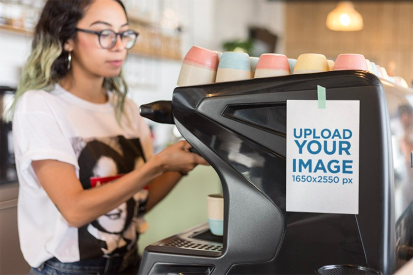 Flyer Mockup Featuring a Woman Using an Espresso Machine