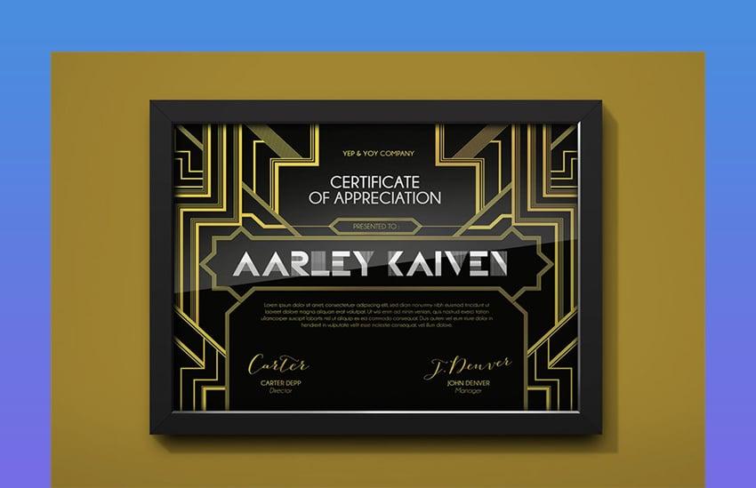 Art Deco Certificate