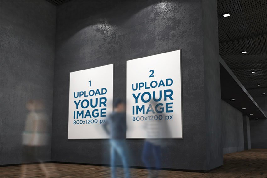 Mockup Featuring Two Exhibition Posters Hanging on a Dark Wall