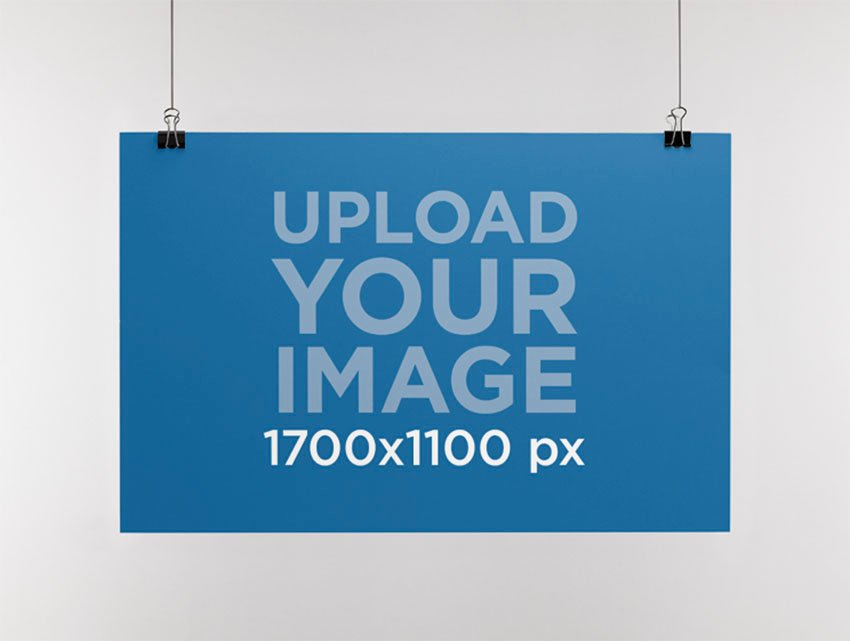 Mockup Template of a Paper Poster Hanging From a Wall