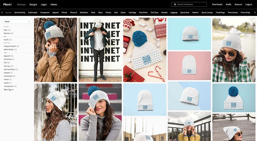 Navigate to Placeits Beanie Mockup Page