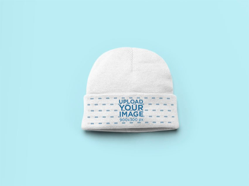 Flat Lay Beanie Mockup with a Solid BackgroundFlat Lay Beanie Mockup with a Solid Background