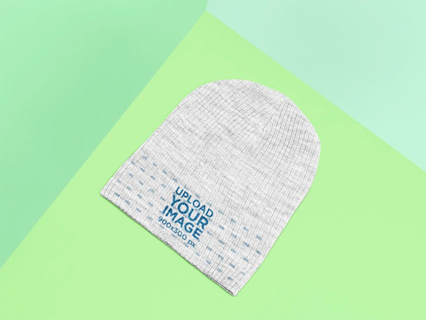 Mockup of a Heathered Beanie Lying on a Flat Surface