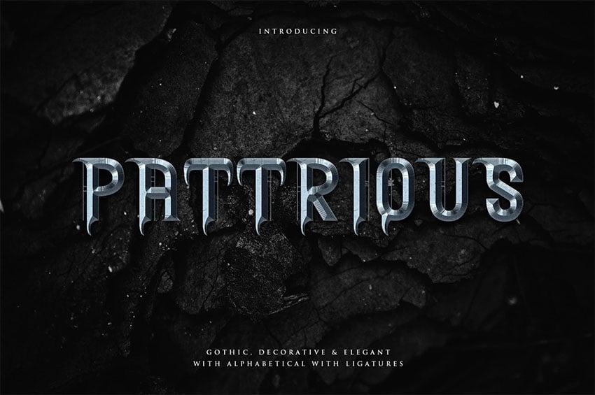Pattrious - Elegant Metal Band Font