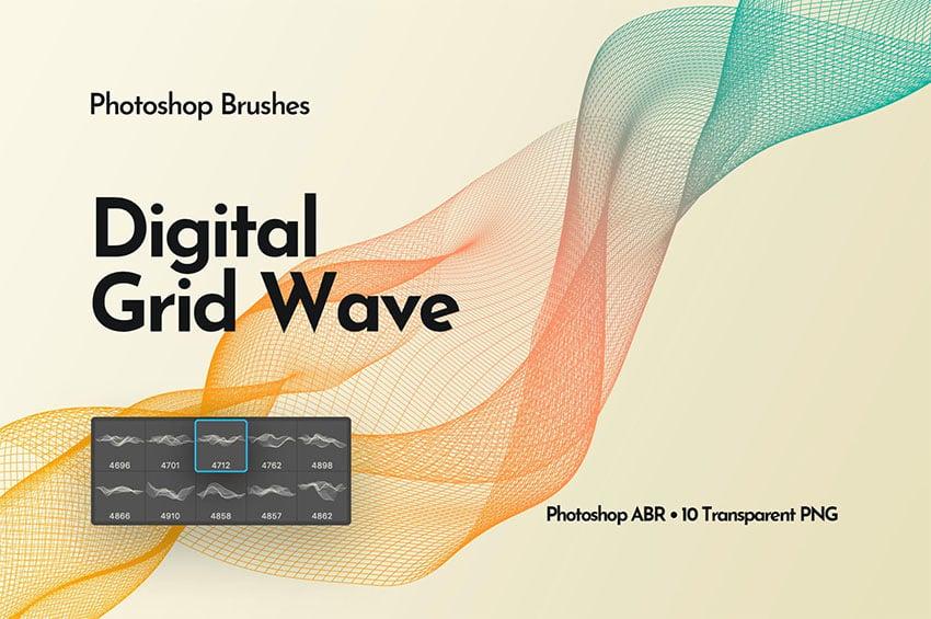 Digital Grid Waves Photoshop Brushes