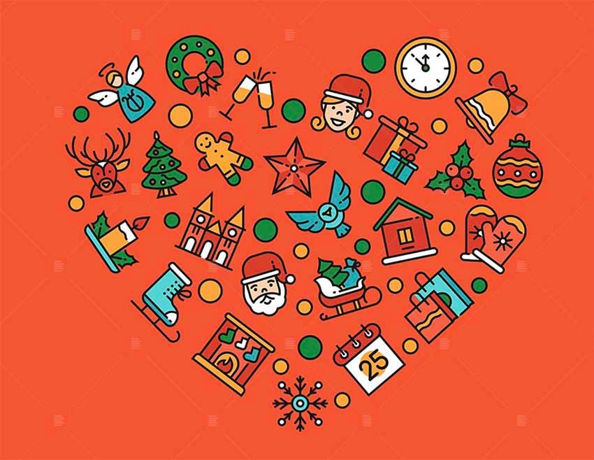 Christmas Accessories - Red Heart Vector