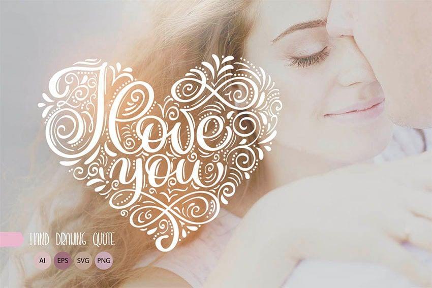 I Love You Heart Text Art