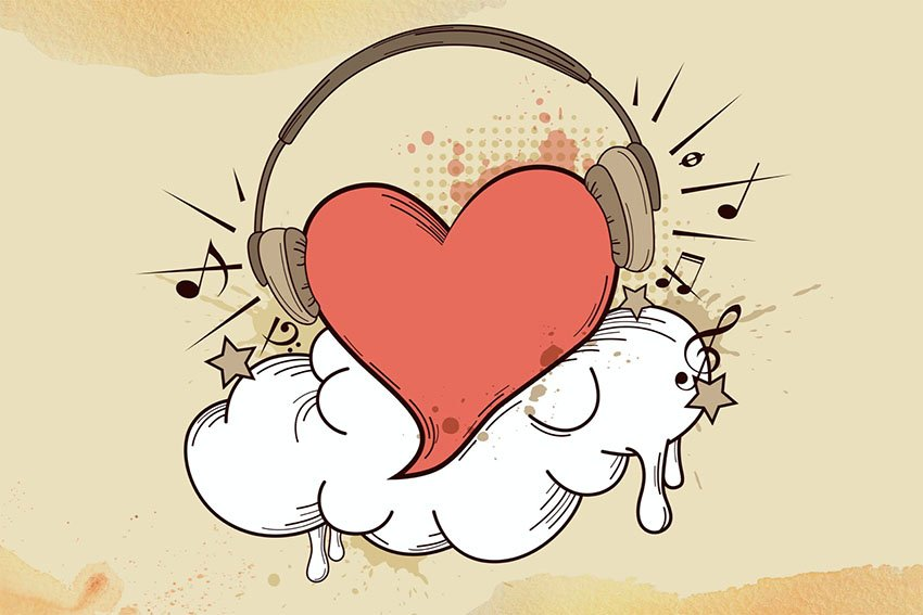 Red Heart Vector and Headphones