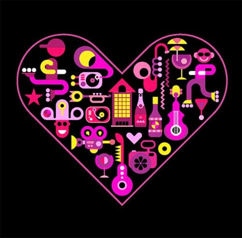 City Life Heart Shape Vector Illustration