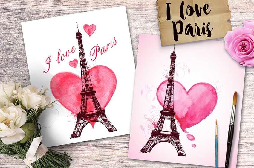 I Love Paris Romantic Cards