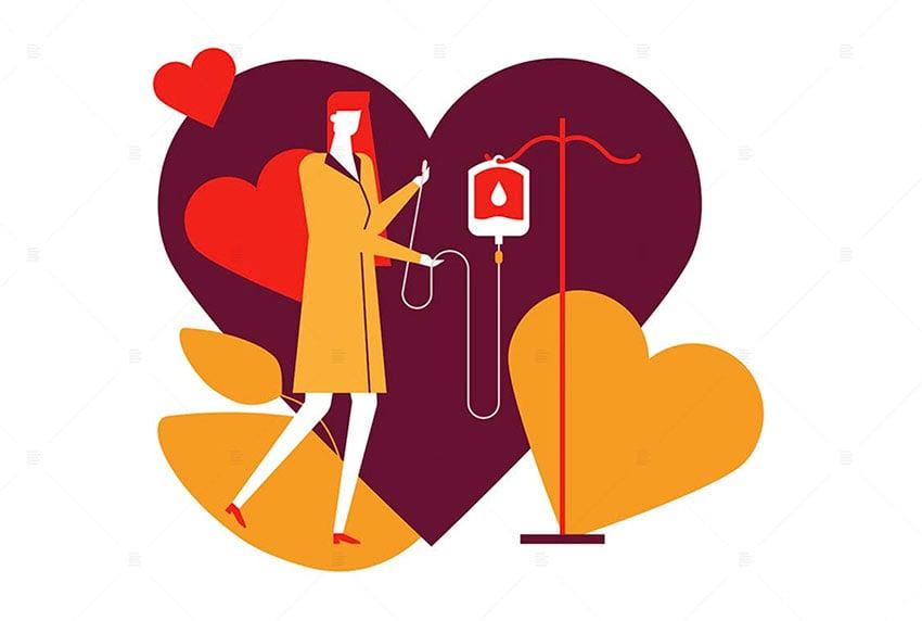 Blood Donation - Flat Design Heart Art