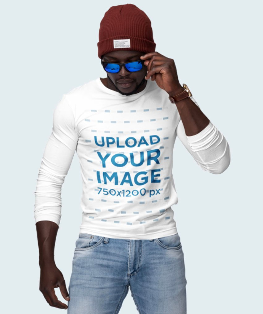 Man With Sunglasses and a Customizable Long Sleeve T-Shirt Mockup