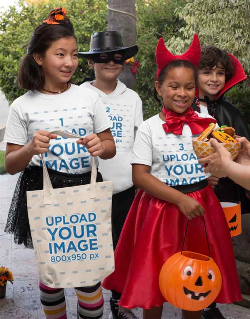 Halloween Mockup of Kids with T-Shirts and Tote Bags Asking for Trick or Treat