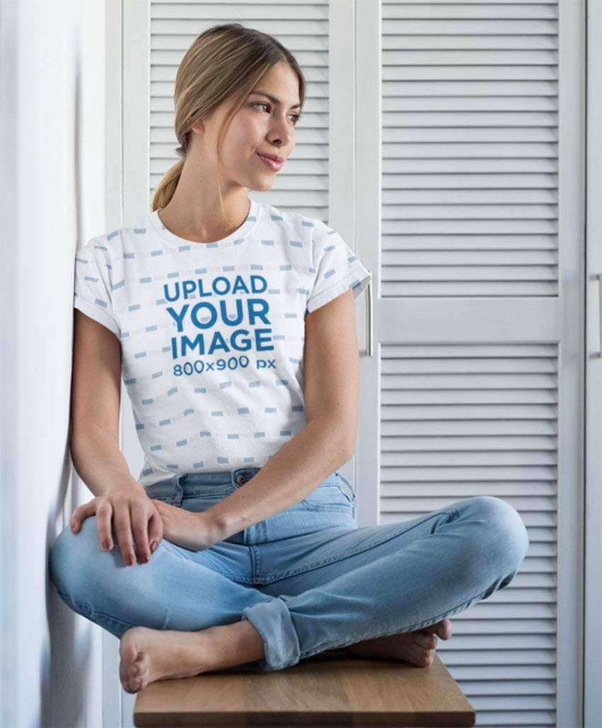 Sublimated Tee Mockup Featuring a Woman on a Stool