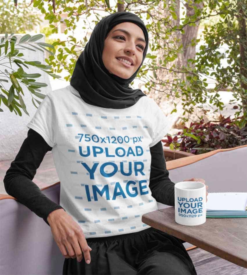 T-Shirt Mockup of a Woman Wearing a Hijab with Mug