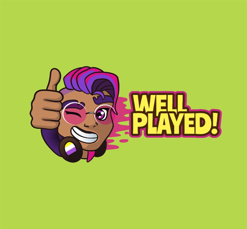 Twitch Emoticons Featuring an Illustrated Non-Binary Gamer with Thumbs Up