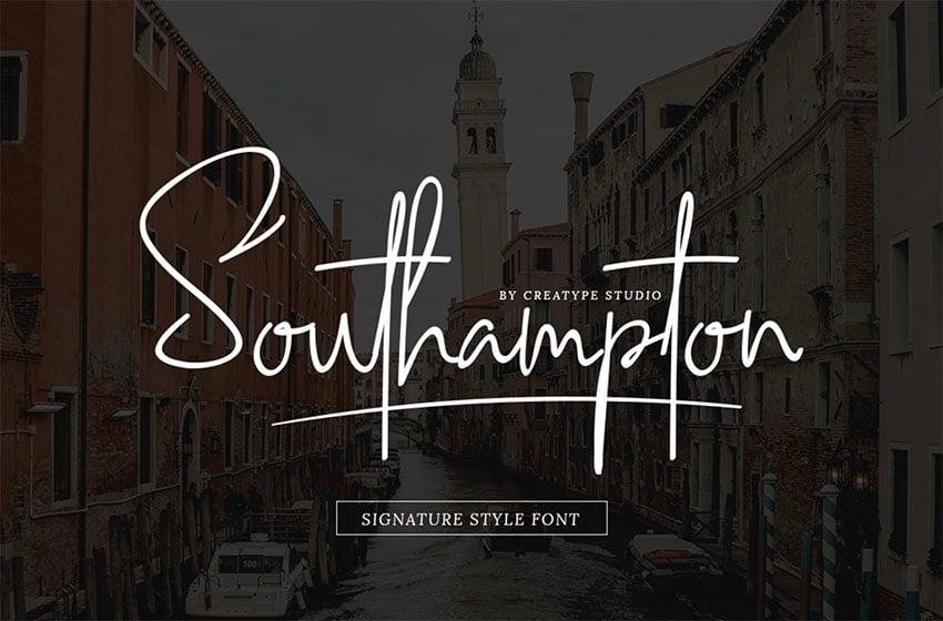 SOUTHAMPTON SIGNATURE - FREE SCRIPT FONT