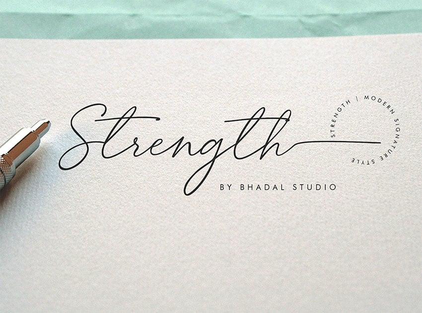 Strength Signature Like Font