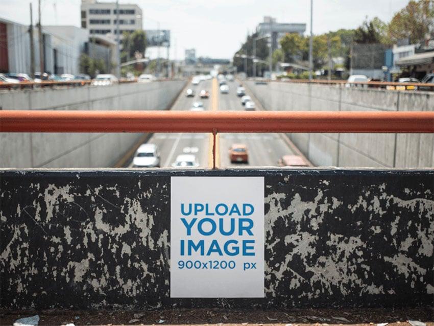Black Wall Poster Mockup on Big Avenue