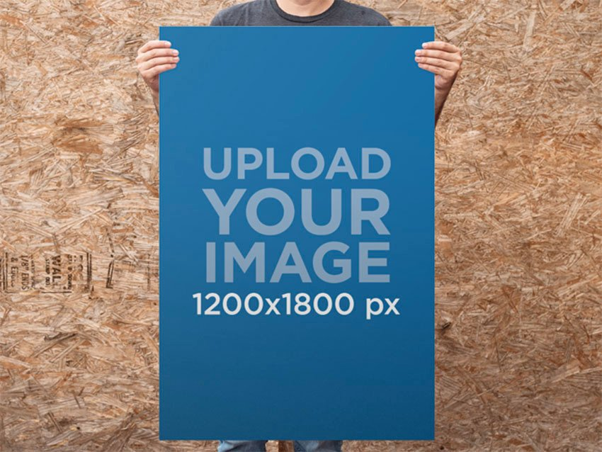 Guy Standing in Front of a Wooden Wall Poster Mockup