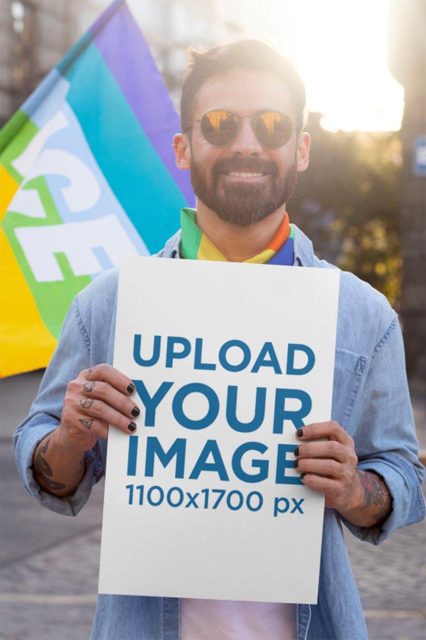 Street Poster Mockup of a Man at a Pride Parade