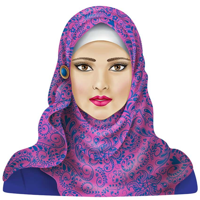 Portrait Illustration of a Woman in Hijab