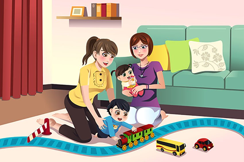 Family Portrait Illustration of Parents Playing With Their Kids