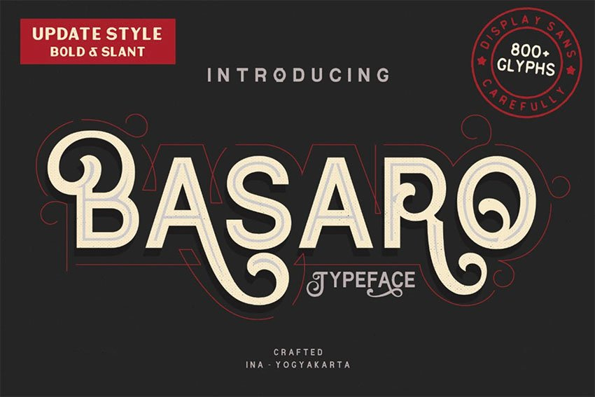 Basaro Swash Font with Long Tails