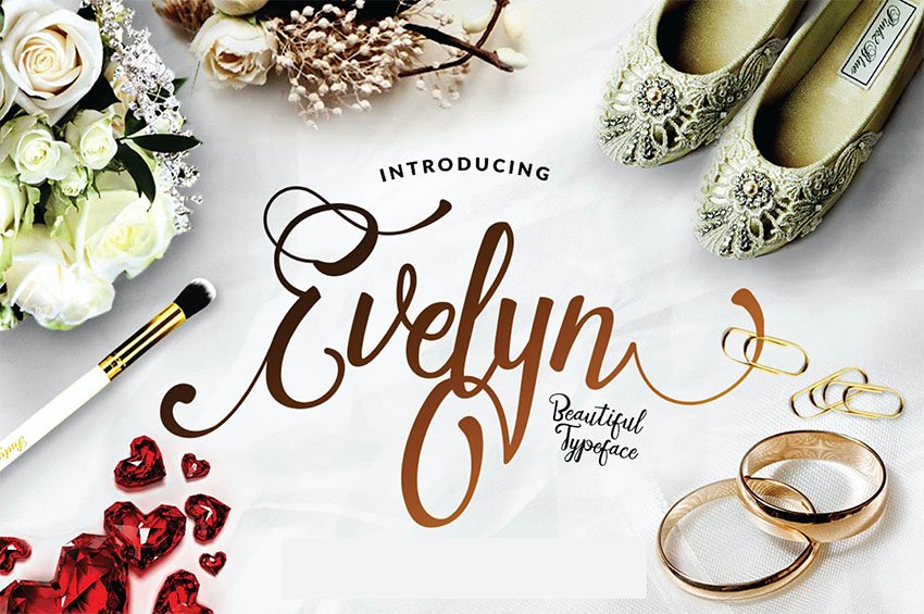 Evelyn - Wedding Script Font with Tail