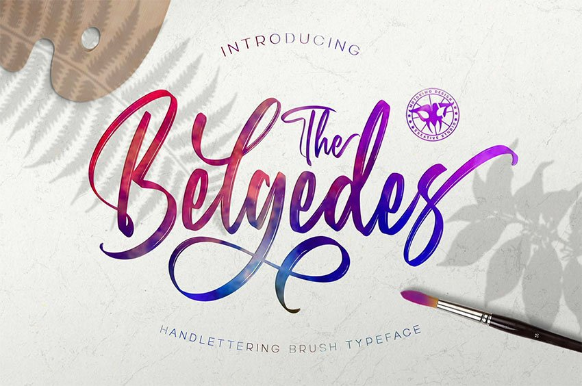 Belgedes Brush Script Font with Tail