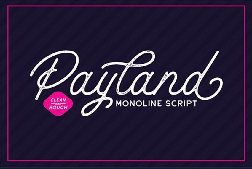 Payland Monoline Script Font with Swashes