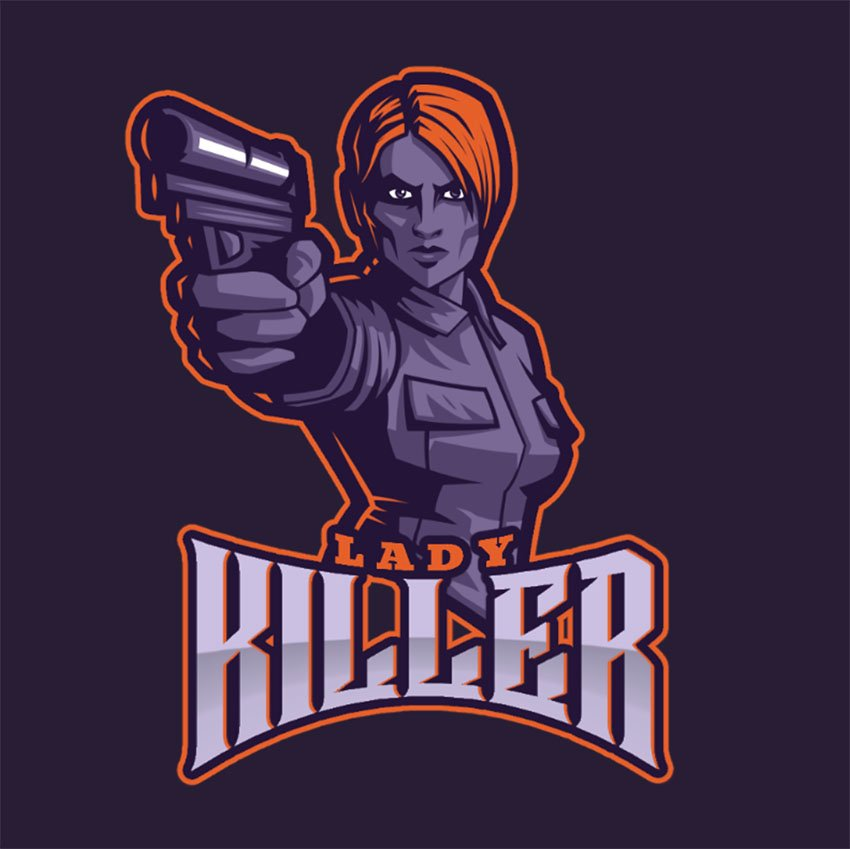Counter Strike Inspired Gaming Logo with Female Character