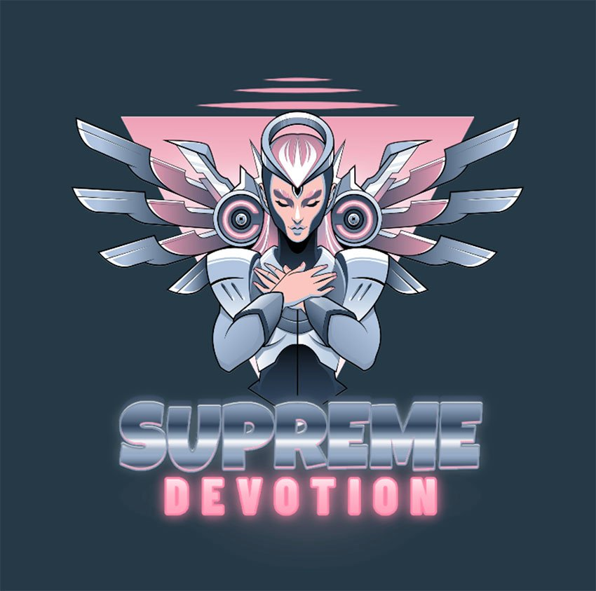 Gaming Team Logo with a Character Inspired by a Healer from Overwatch