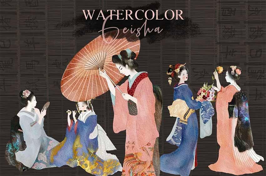 Watercolor Geisha Japanese Art Styles