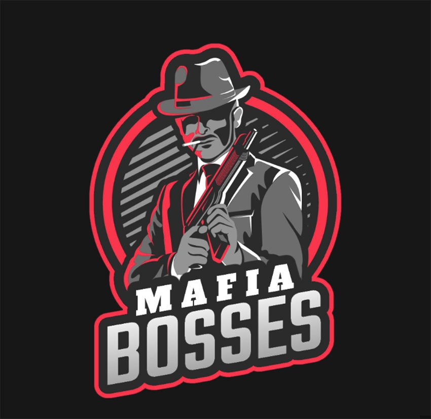 Gaming Channel Logo Template Featuring a Mafia Boss