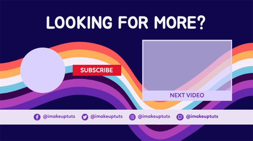 YouTube End Screen Template with Swirling Colours