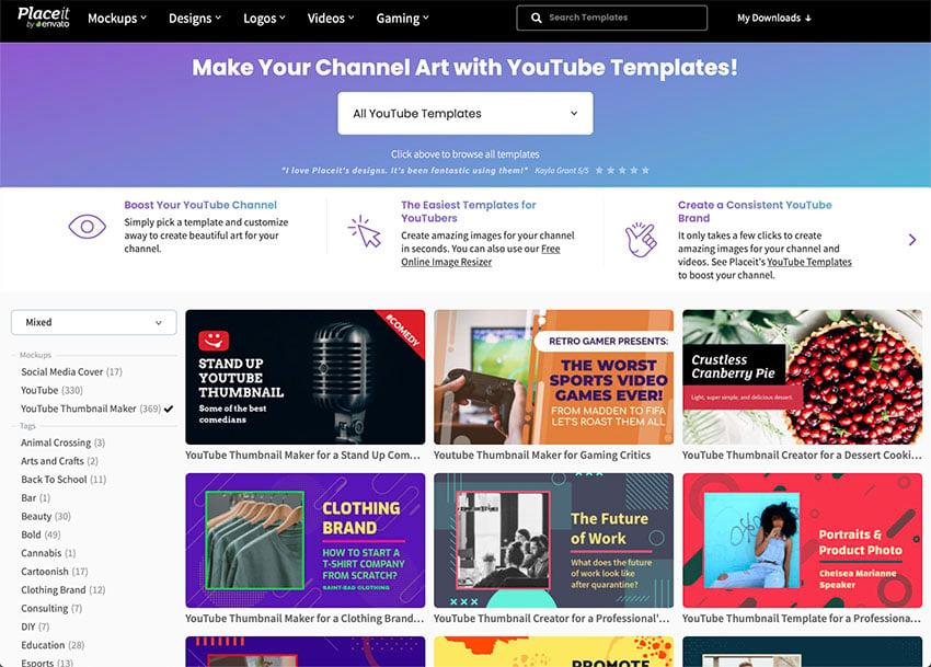 Select a YouTube Thumbnail Design