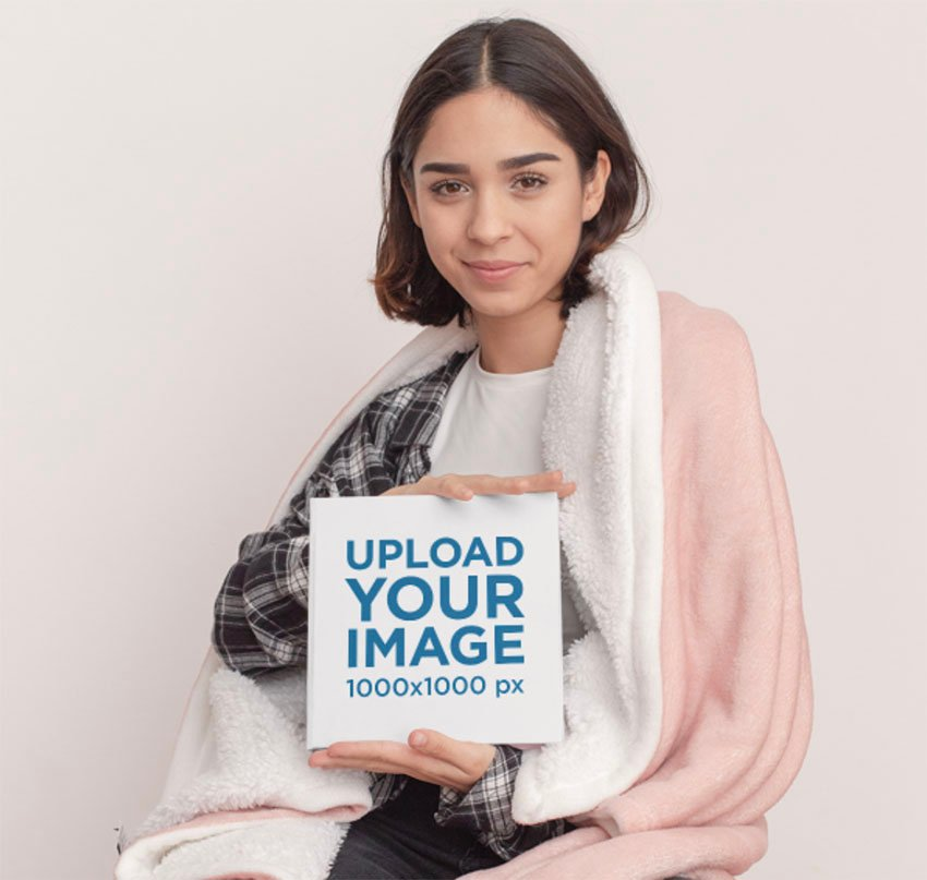Book Mockup Generator Featuring a Woman Posing