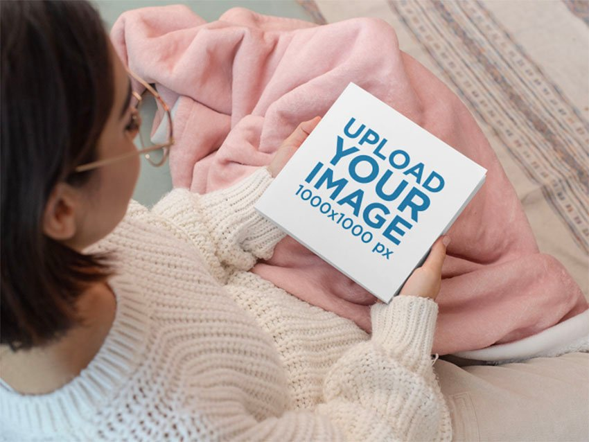 Square Cover Mockup with Woman Holding Book