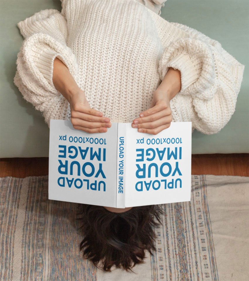 Upside Down Image of Open Square Book Mockup