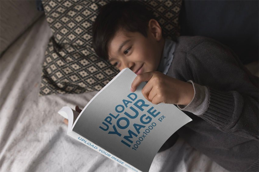 Square Cover Mockup Template with Happy Kid Reading