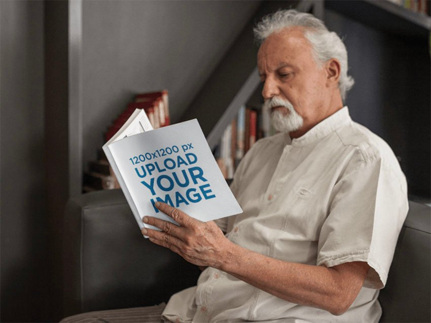 Open Square Book Mockup Template with Senior Man